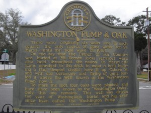 Historical Marker for Washington's Pump and Oaks