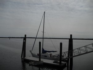 Our Boat, PT26,  sitting on the City Dock in Saint Mary